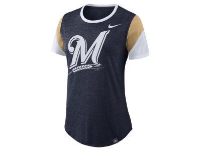 Milwaukee Brewers Nike MLB Women's Tri-Blend Crew T-Shirt