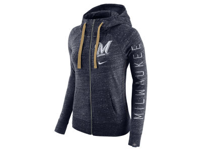 Milwaukee Brewers Nike MLB Women's Gym Vintage Full Zip Hooded Sweatshirt