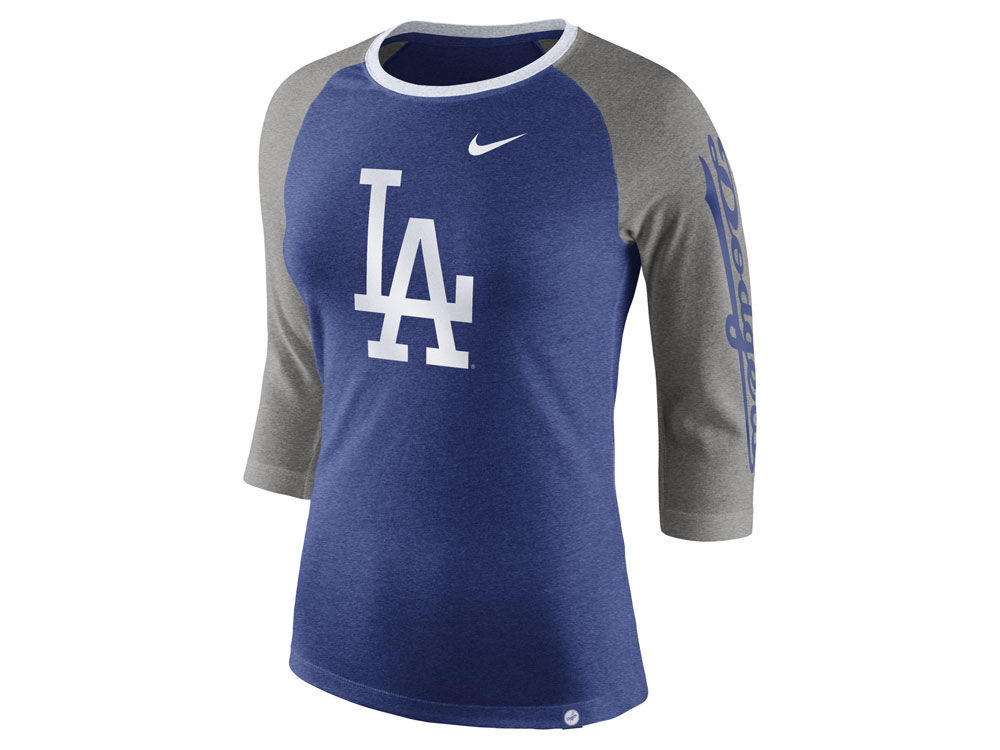Los Angeles Dodgers Nike MLB Women s Tri-Blend Raglan T-shirt  cf87cbaa631