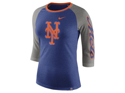 New York Mets Nike MLB Women's Tri-Blend Raglan T-shirt