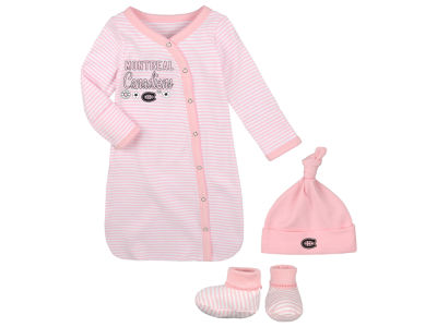 Montreal Canadiens NHL Newborn Sweet Fan Gown, Hat & Bootie Set