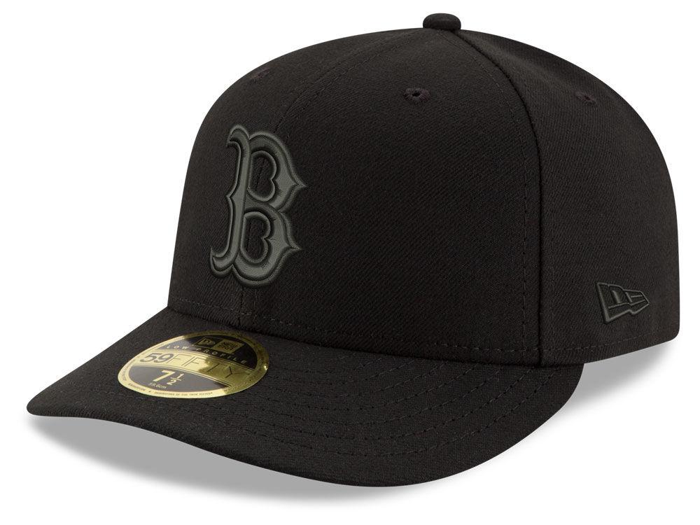 Boston Red Sox New Era MLB Triple Black Low Profile 59FIFTY Cap ... 57afe6e5aa3
