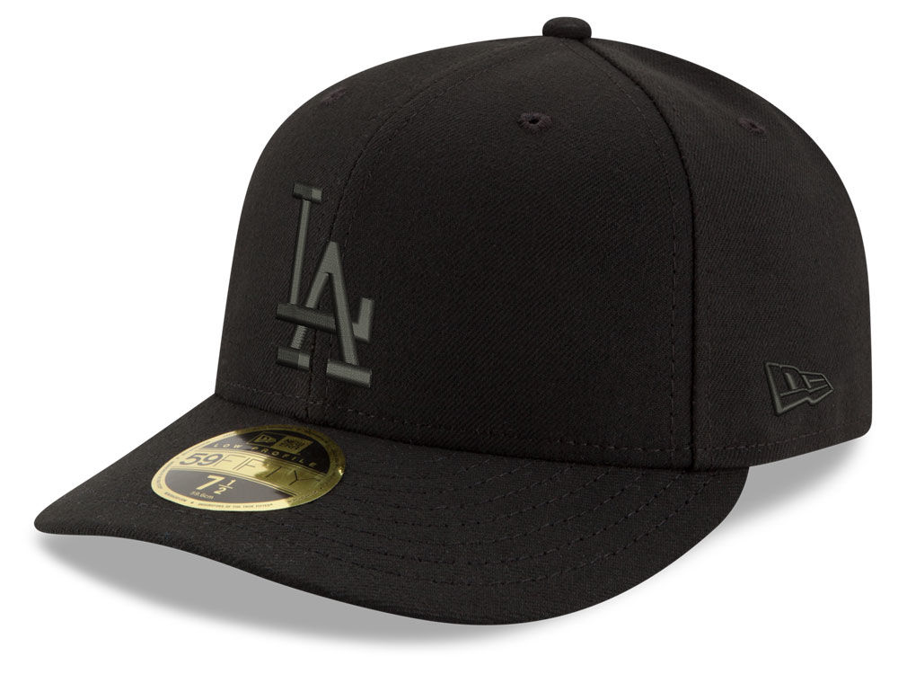 159ef3f0b76 Los Angeles Dodgers New Era MLB Triple Black Low Profile 59FIFTY Cap ...