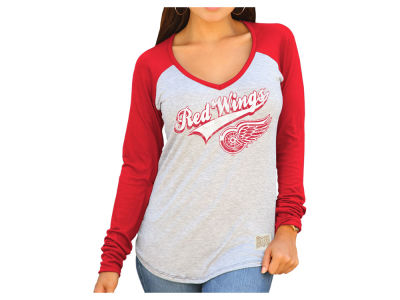 Detroit Red Wings Retro Brand NHL Women's Raglan Long Sleeve T-Shirt