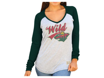 Minnesota Wild Retro Brand NHL Women's Raglan Long Sleeve T-Shirt