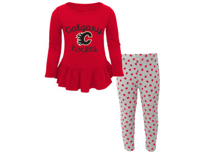 Calgary Flames NHL Toddler Sweet Heart Long Sleeve & Pant Set