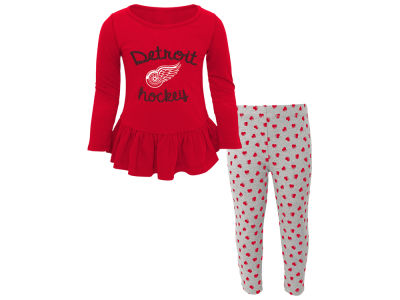 Detroit Red Wings NHL Toddler Sweet Heart Long Sleeve & Pant Set