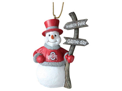 Ohio State Buckeyes Memory Company Snowman with Sign Ornament