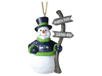 Seattle Seahawks Snowman with Sign Ornament