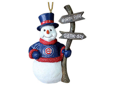 Chicago Cubs Memory Company Snowman with Sign Ornament
