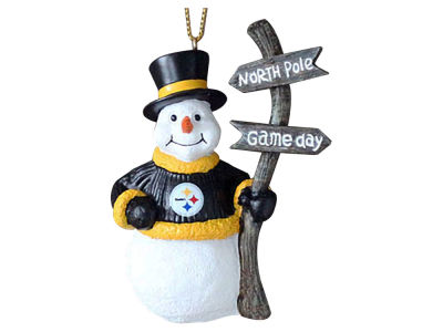 Pittsburgh Steelers Snowman with Sign Ornament