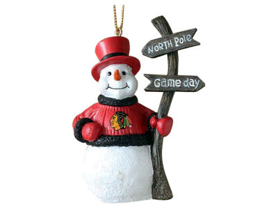 Chicago Blackhawks Memory Company Snowman with Sign Ornament