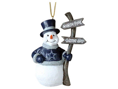 Dallas Cowboys Memory Company Snowman with Sign Ornament