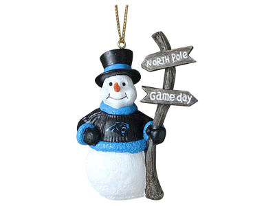 Carolina Panthers Memory Company Snowman with Sign Ornament
