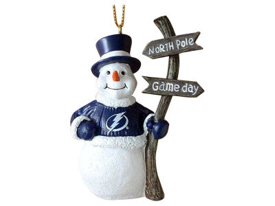 Tampa Bay Lightning Memory Company Snowman with Sign Ornament