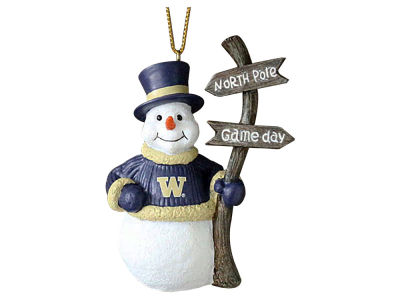 Washington Huskies Memory Company Snowman with Sign Ornament
