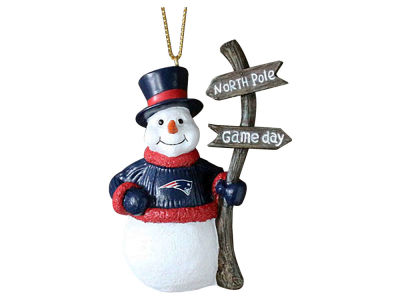 New England Patriots Snowman with Sign Ornament