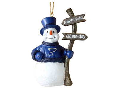 St. Louis Blues Memory Company Snowman with Sign Ornament