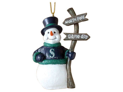 Seattle Mariners Snowman with Sign Ornament