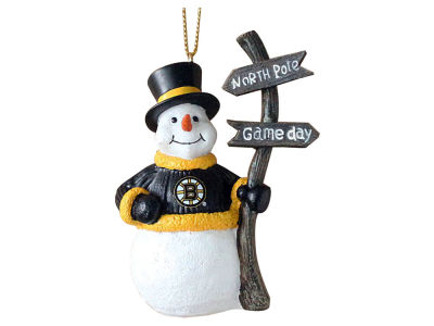 Boston Bruins Snowman with Sign Ornament