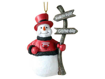 Chicago Bulls Snowman with Sign Ornament