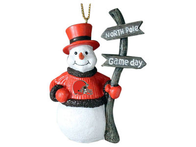 Cleveland Browns Snowman with Sign Ornament