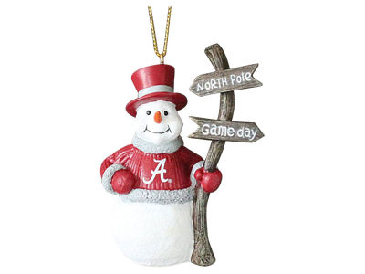 Alabama Crimson Tide Snowman with Sign Ornament
