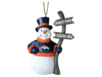 Denver Broncos Snowman with Sign Ornament