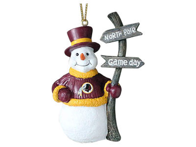 Washington Redskins Snowman with Sign Ornament