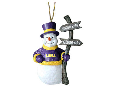 LSU Tigers Snowman with Sign Ornament