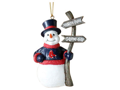 Boston Red Sox Memory Company Snowman with Sign Ornament