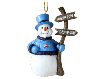 Oklahoma City Thunder Snowman with Sign Ornament