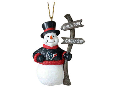Houston Texans Snowman with Sign Ornament