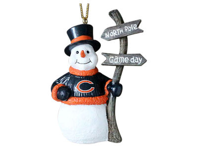 Chicago Bears Snowman with Sign Ornament