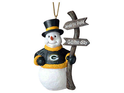 Green Bay Packers Snowman with Sign Ornament