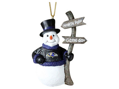Baltimore Ravens Snowman with Sign Ornament