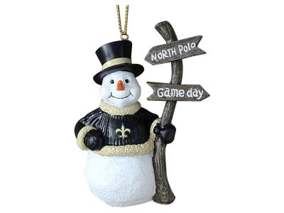 New Orleans Saints Memory Company Snowman with Sign Ornament