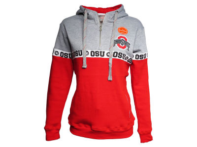 Ohio State Buckeyes J America NCAA Women's Stripe Hooded Quarter Zip Sweatshirt