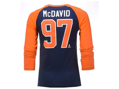 Edmonton Oilers Connor McDavid Outerstuff NHL Youth Morning Skate Player Long Sleeve Raglan T-Shirt