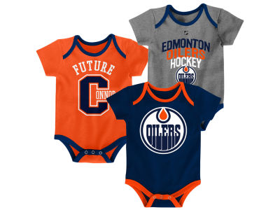 Edmonton Oilers Outerstuff NHL Infant Hat Trick 3 Piece Creeper Set
