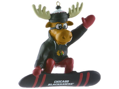Chicago Blackhawks Snowbarding Moose Ornament