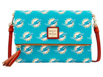 Miami Dolphins Dooney & Bourke Foldover Crossbody Purse