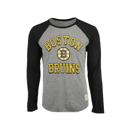 Boston Bruins Retro Brand NHL Men's Reggie Raglan Long Sleeve T-Shirt