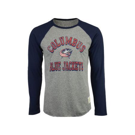 Columbus Blue Jackets Retro Brand NHL Men's Reggie Raglan Long Sleeve T-Shirt