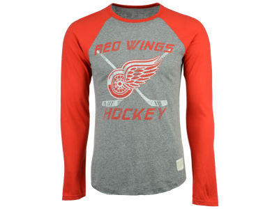 Detroit Red Wings Retro Brand NHL Men's Reggie Raglan Long Sleeve T-Shirt