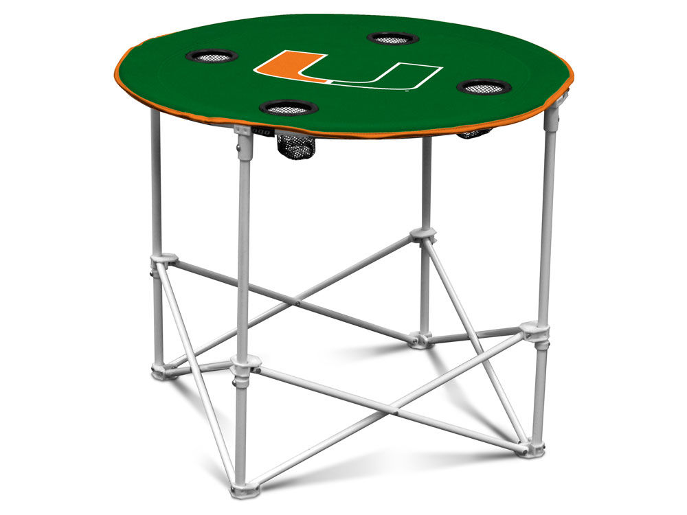 Miami Hurricanes Logo Brands Round Folding Table