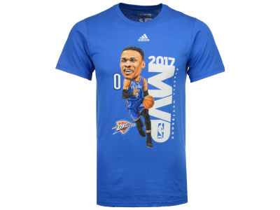 Oklahoma City Thunder Russell Westbrook adidas 2017 NBA Men's Caricature MVP T-Shirt