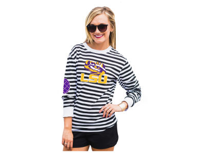 LSU Tigers Gameday Couture NCAA Women's Striped Elbow Patch Long Sleeve T-Shirt