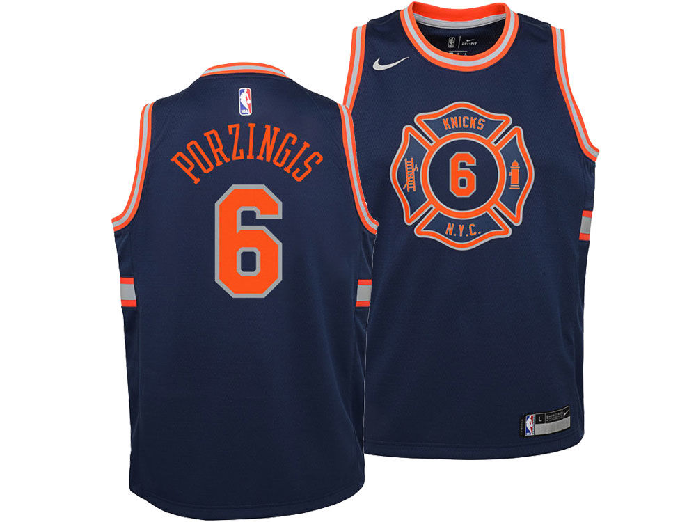 New York Knicks Kristaps Porzingis Nike NBA Youth City Edition Swingman  Jersey  838bf4187
