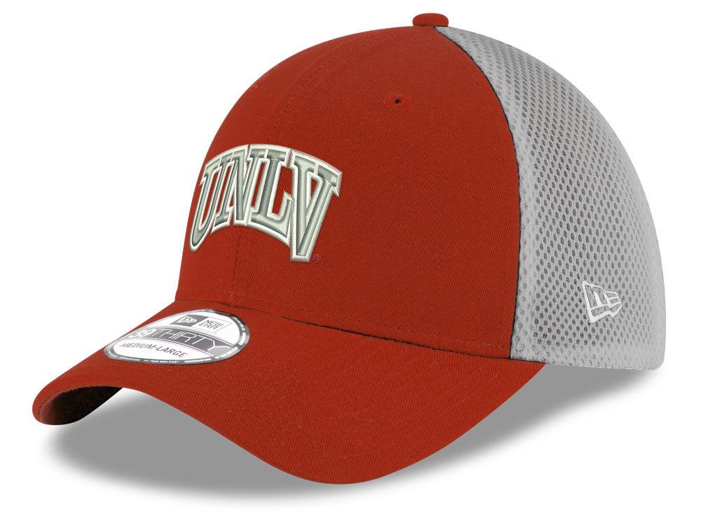 UNLV Runnin Rebels New Era NCAA Mesh Back Gray Neo 39THIRTY Cap ... 8e019dbc409